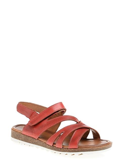 Derigo %100 Deri Sandalet Kırmızı